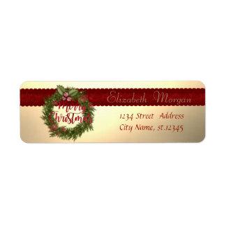 Elegant Stylish Christmas Holliday Wreath Return Address Label