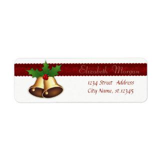 Elegant Stylish Christmas Holly Branches,Bells Return Address Label