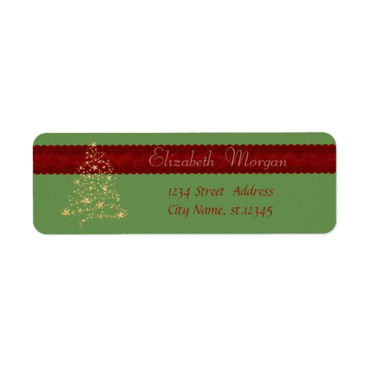 Elegant,Stylish Christmas Tree, Faux Gold Return Address Label