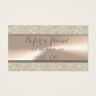 Elegant Stylish,Cream, Damask   Referral Card