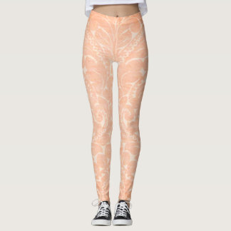 Elegant Stylish  Damask Pattern Leggings