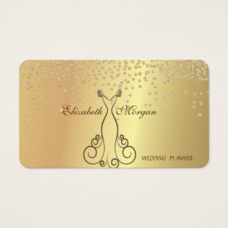 Elegant Stylish  Faux Gold- Shiny Diamonds,Dress Business Card