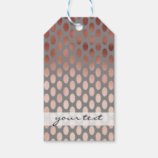 elegant stylish faux rose gold polka dots pattern gift tags