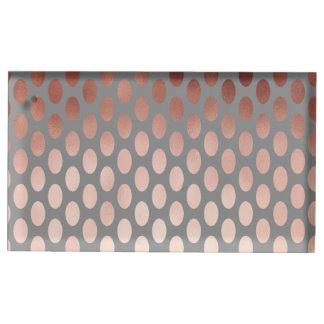 elegant stylish faux rose gold polka dots pattern table number holder