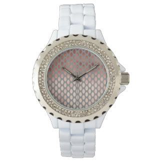 elegant stylish faux rose gold polka dots pattern watch