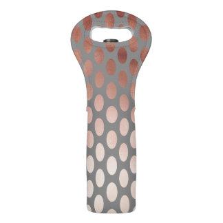 elegant stylish faux rose gold polka dots pattern wine bag