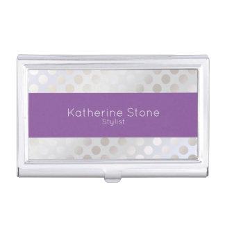 Elegant stylish faux silver polka dots pattern business card holder