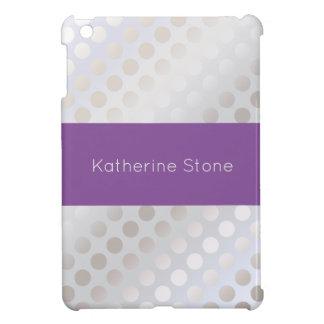 Elegant stylish faux silver polka dots pattern cover for the iPad mini