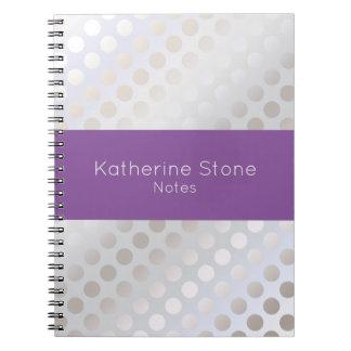 Elegant stylish faux silver polka dots pattern notebooks