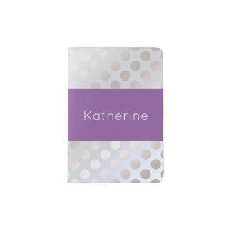 Elegant stylish faux silver polka dots pattern passport holder