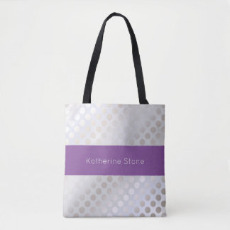 Elegant stylish faux silver polka dots pattern tote bag