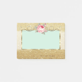 Elegant Stylish,Frame,Rose,Glittery Post-it Notes