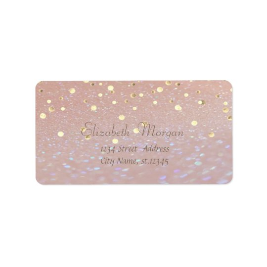 Elegant  Stylish ,Fux Gold Foil Confetti Address Label