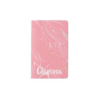 Elegant stylish girly rose gold marble look pink pocket moleskine notebook