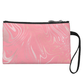 Elegant stylish girly rose gold marble look pink wristlet