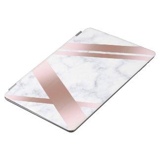 Elegant stylish girly rose gold white marble iPad air cover