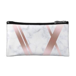 Elegant stylish girly rose gold white marble makeup bag
