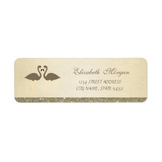Elegant Stylish Glittery ,Flamingos  Address Label