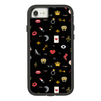 elegant stylish kisses, lips, hearts, owls, notes Case-Mate tough extreme iPhone 8/7 case