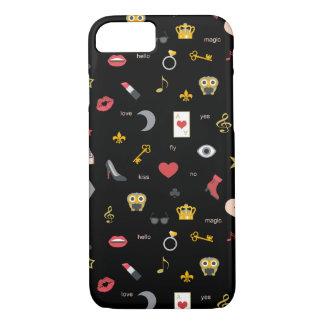 elegant stylish kisses, lips, hearts, owls, notes iPhone 8/7 case