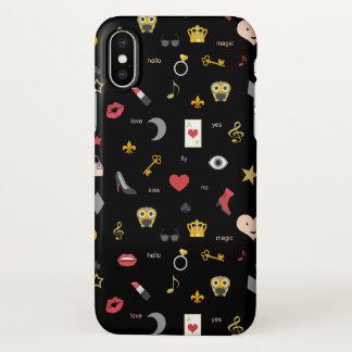 elegant stylish kisses, lips, hearts, owls, notes iPhone x case