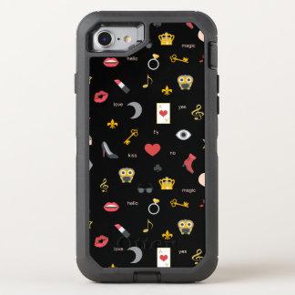 elegant stylish kisses, lips, hearts, owls, notes OtterBox defender iPhone 8/7 case