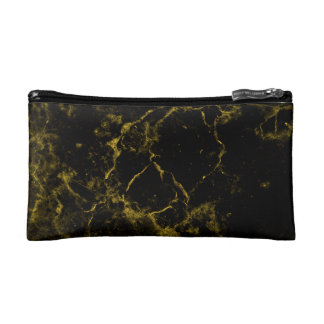 elegant stylish modern chic black and gold marble cosmetic bags