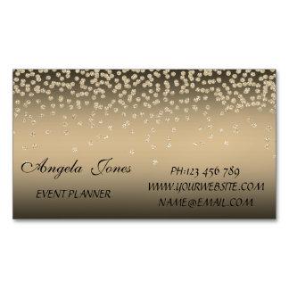 Elegant Stylish Modern Shiny Foil Confetty-Diamond Magnetic Business Card