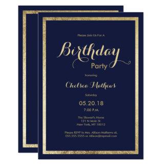 Elegant stylish navy blue faux gold Birthday Card