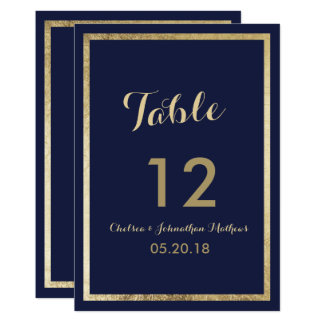Elegant stylish navy blue faux gold Table Number