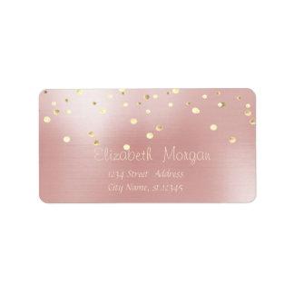 Elegant  Stylish ,Pink ,Fux Gold Foil Confetti Label