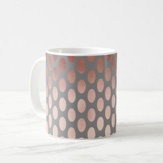 elegant stylish rose gold foil polka dots pattern coffee mug