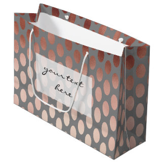 elegant stylish rose gold foil polka dots pattern large gift bag