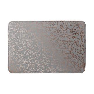 Elegant stylish rose gold geometric pattern grey bath mat