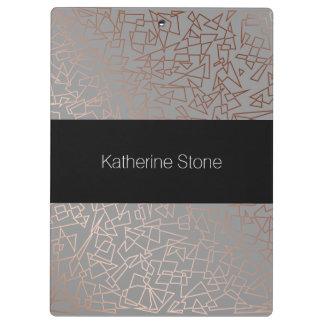Elegant stylish rose gold geometric pattern grey clipboard