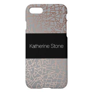Elegant stylish rose gold geometric pattern grey iPhone 8/7 case