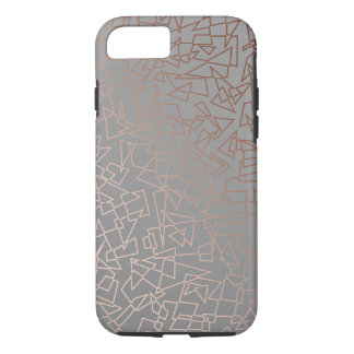 Elegant stylish rose gold geometric pattern grey iPhone 8/7 case