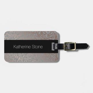 Elegant stylish rose gold geometric pattern grey luggage tag