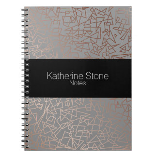 Elegant stylish rose gold geometric pattern grey notebook