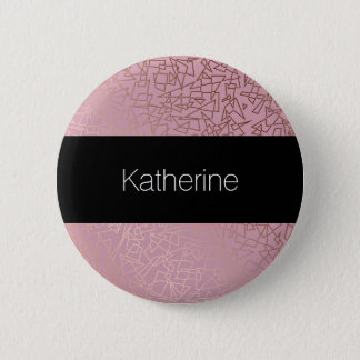 Elegant stylish rose gold geometric pattern pink 6 cm round badge