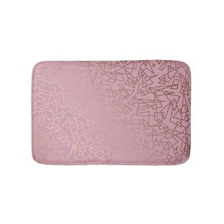 Elegant stylish rose gold geometric pattern pink bath mat