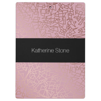 Elegant stylish rose gold geometric pattern pink clipboard