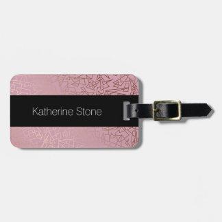 Elegant stylish rose gold geometric pattern pink luggage tag