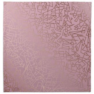 Elegant stylish rose gold geometric pattern pink napkin