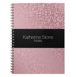 Elegant stylish rose gold geometric pattern pink notebooks