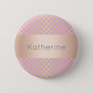 Elegant stylish rose gold polka dots pattern pink 6 cm round badge