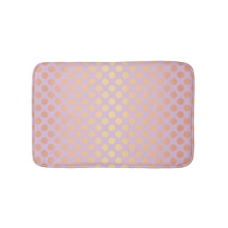 Elegant stylish rose gold polka dots pattern pink bath mat