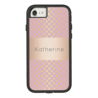 Elegant stylish rose gold polka dots pattern pink Case-Mate tough extreme iPhone 8/7 case