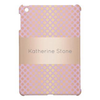 Elegant stylish rose gold polka dots pattern pink cover for the iPad mini