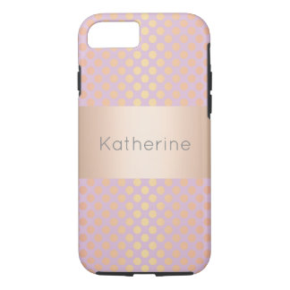 Elegant stylish rose gold polka dots pattern pink iPhone 8/7 case
